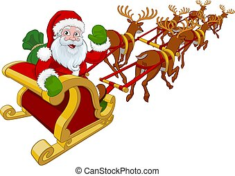 navidad, vuelo, claus, reno, sleigh, santa