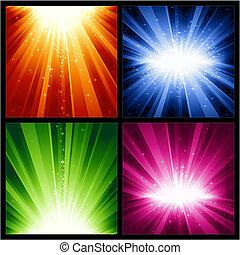Navidades festivas, nuevos años explosiones de luz y estrellas