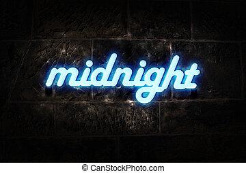 neón, medianoche, señal