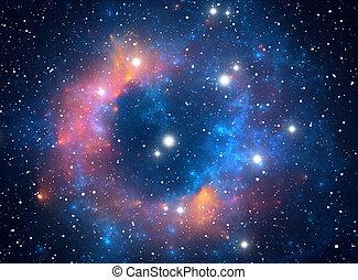 nebulosa, estrella, colorido, espacio