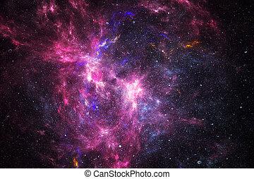 nebulosa, profundo, estrellas, espacio