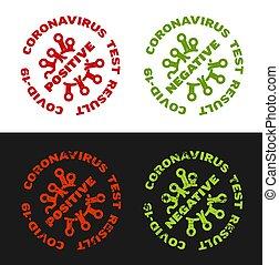 negativo, resultado, positivo, estampilla, -, coronavirus, prueba