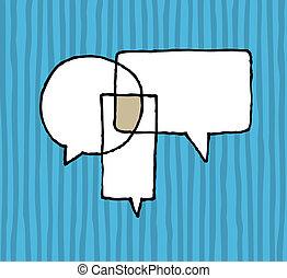 negociación, acuerdo, /, discurso, diálogo, globos