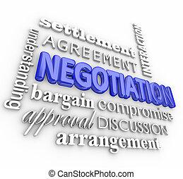 negociación, arreglo, compromiso, collage, trato, tregua, acuerdo, palabra