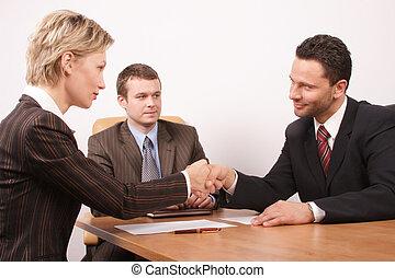 negociación, encima