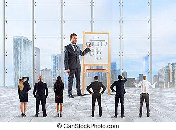 Negocios como líder y jefe explican estrategia de negocios