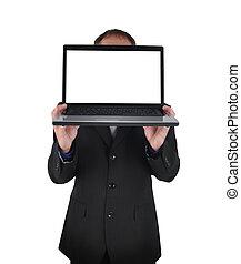 Negocios de computadoras en blanco