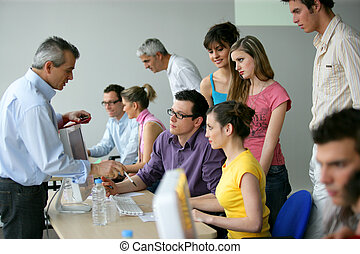 Negocios en un entrenamiento educativo
