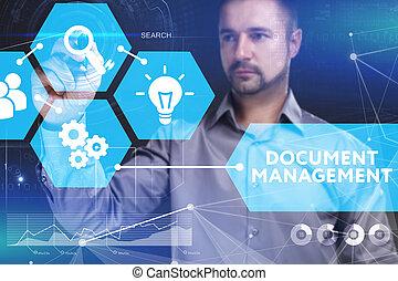 Negocios, tecnología, Internet y el concepto de red. Un joven hombre de negocios muestra la palabra en la exhibición virtual del futuro: gestión de documentos