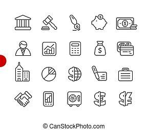 Negocios y iconos financieros serie de puntos rojos