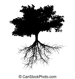 negro, árbol, raíces
