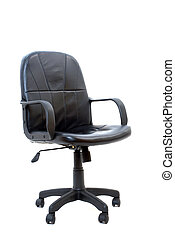 negro, aislado, silla, oficina