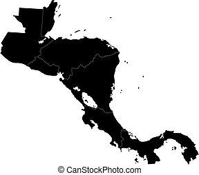 negro, américa, central, mapa