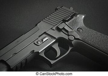 negro, automático, arma de fuego