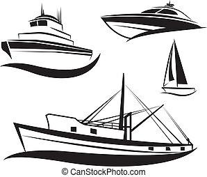 negro, barco, barco, conjunto, vector