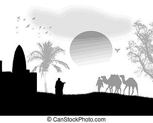 negro, blanco, árabe, ocaso