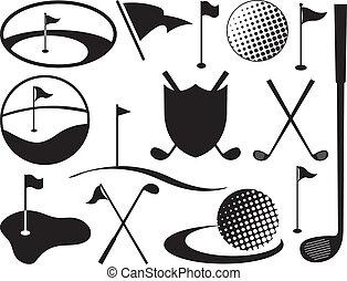 negro, blanco, golf, iconos