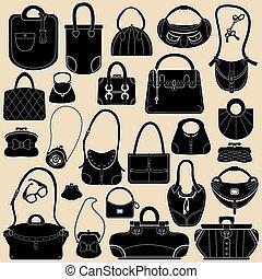 negro, bolsas, objects., handbags., conjunto, blanco, mujer, colores