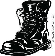negro, bota, ejército
