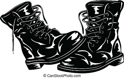 negro, botas, ejército