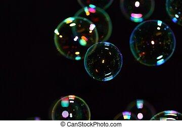 negro, burbujas