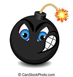 negro, cara divertida, bomba