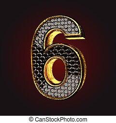 negro, carta, oro, 6