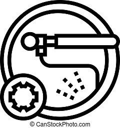 negro, chambre, icono, ilustración, vector, línea, rueda