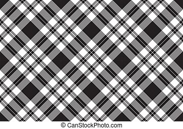negro, cheque, configuración diagonal, blanco, textura, seamless, tela