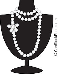 negro, collar, maniquí, perla