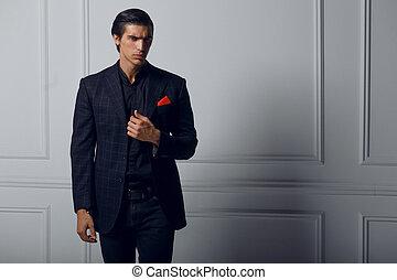 negro, confiado, fondo., bufanda, bolsillo, encima, hombre, space., traje, joven, rojo blanco, frontal, seda, copia, retrato