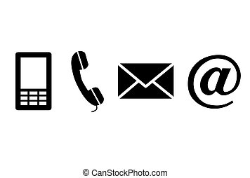 negro, contacto, icons.