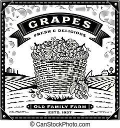 negro, cosecha, retro, blanco, paisaje, etiqueta, uvas
