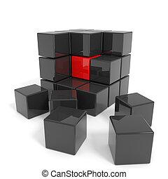 negro, cubo, core., armados, rojo