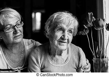negro, daughter., photography., adulto, ella, abuela, blanco