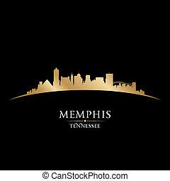 negro de tennessee, plano de fondo, contorno, memphis, ciudad, silueta
