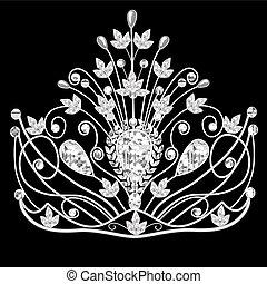 negro, diadema, boda, corona, femenino