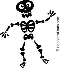 negro, esqueleto, aislado, silueta, blanco
