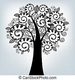 negro, estilizado, árbol