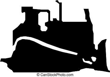 negro, excavadora, vector, silueta