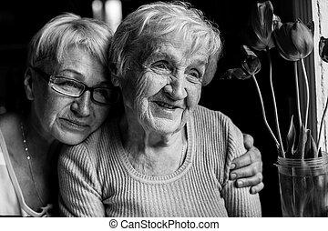 negro, feliz, ella, daughter., photography., blanco, abuela, adulto