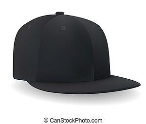negro, gorra, beisball