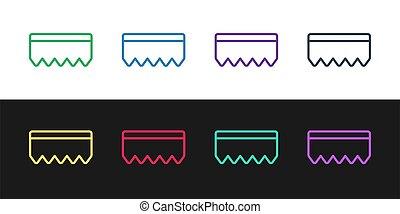 negro, ilustración, esponja, servicio, dishes., mechón, limpieza, logo., icono, vector, lavado, aislado, burbujas, conjunto, línea, bast, blanco, fondo.