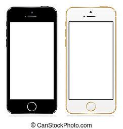 negro, iphone, 5s, manzana, blanco