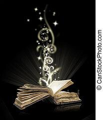 negro, libro abierto, magia
