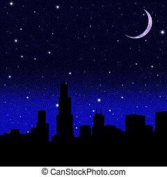 negro, luna, cielo estrellado, creciente