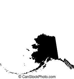 negro, mapa de alaska, vector