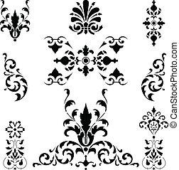 negro, medieval, ornamentos