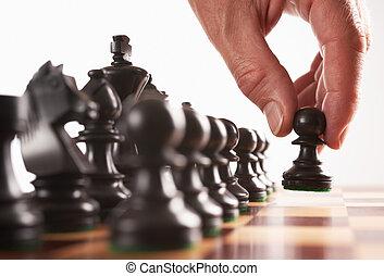 negro, movimiento, jugador, ajedrez, primero
