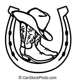 negro, occidental, vaquero, ilustración, botas, sombrero, símbolo, impresión, herradura, vector, gráfico, aislado, blanco, signo.